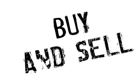 spiel: Buy And Sell rubber stamp. Grunge design with dust scratches. Effects can be easily removed for a clean, crisp look. Color is easily changed. Illustration
