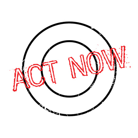 Act Now rubber stamp. Grunge design with dust scratches. Effects can be easily removed for a clean, crisp look. Color is easily changed. Illustration