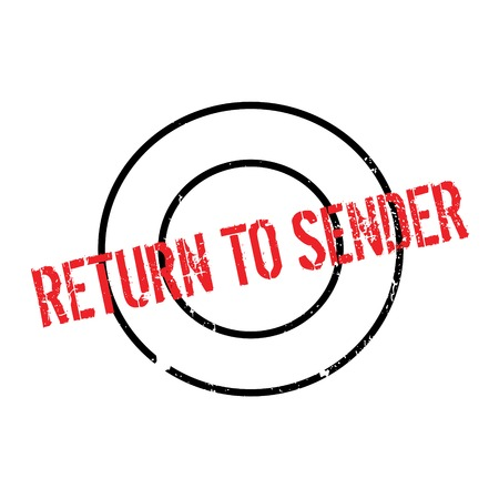 payee: Return To Sender rubber stamp. Grunge design with dust scratches. Effects can be easily removed for a clean, crisp look. Color is easily changed.