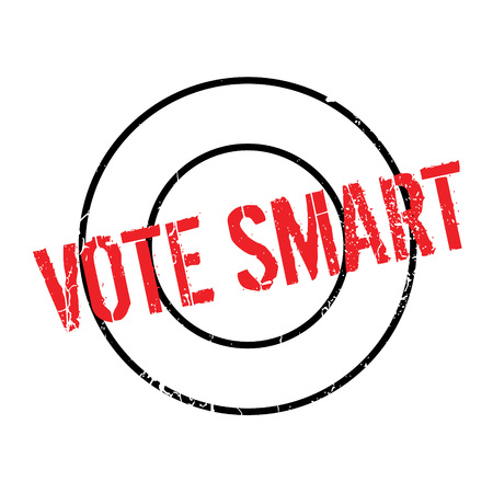 canny: Vote Smart rubber stamp. Grunge design with dust scratches. Effects can be easily removed for a clean, crisp look. Color is easily changed. Illustration