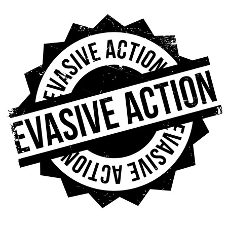 immediately: Evasive Action rubber stamp. Grunge design with dust scratches. Effects can be easily removed for a clean, crisp look. Color is easily changed.
