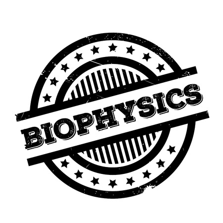 uni: Biophysics rubber stamp. Grunge design with dust scratches. Effects can be easily removed for a clean, crisp look. Color is easily changed.