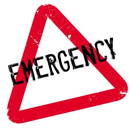 Emergency rubber stamp. Grunge design with dust scratches. Effects can be easily removed for a clean, crisp look. Color is easily changed. Stock Photo