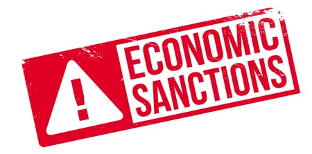 budget restrictions: Economic Sanctions rubber stamp. Grunge design with dust scratches. Effects can be easily removed for a clean, crisp look. Color is easily changed. Stock Photo