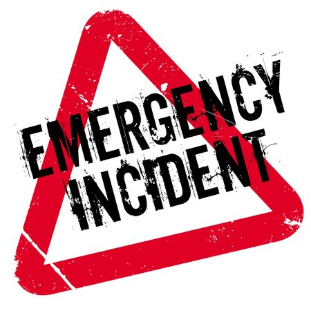 Emergency Incident rubber stamp. Grunge design with dust scratches. Effects can be easily removed for a clean, crisp look. Color is easily changed.