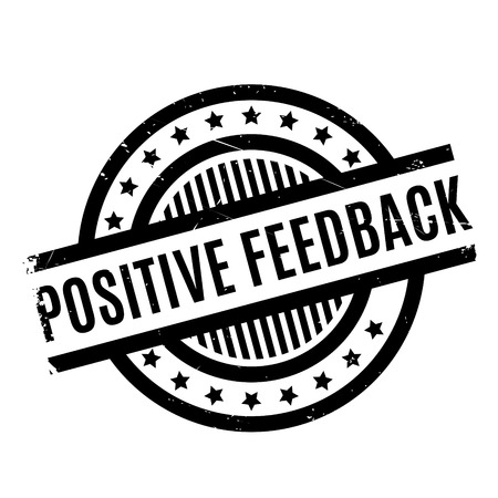 Positive Feedback rubber stamp. Grunge design with dust scratches. Effects can be easily removed for a clean, crisp look. Color is easily changed. Stock Photo