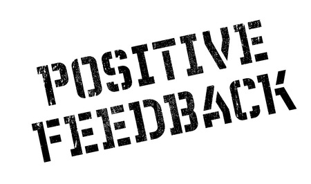 affirmative: Positive Feedback rubber stamp. Grunge design with dust scratches. Effects can be easily removed for a clean, crisp look. Color is easily changed. Illustration