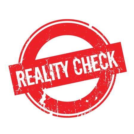 Reality Check rubber stamp. Grunge design with dust scratches. Effects can be easily removed for a clean, crisp look. Color is easily changed. Stock Photo