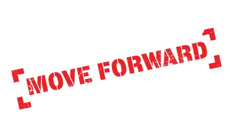 Move Forward rubber stamp. Grunge design with dust scratches. Effects can be easily removed for a clean, crisp look. Color is easily changed. Stock Photo