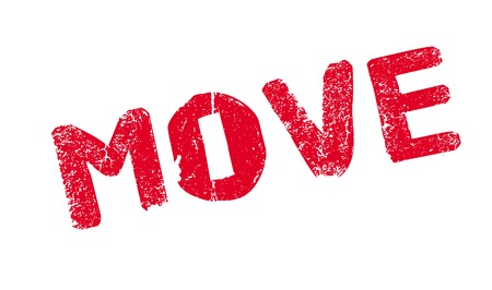 Move rubber stamp. Grunge design with dust scratches. Effects can be easily removed for a clean, crisp look. Color is easily changed. Stock Photo