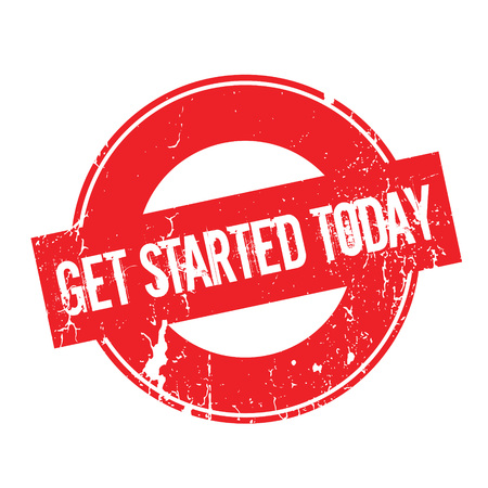 Get Started Today rubber stamp. Grunge design with dust scratches. Effects can be easily removed for a clean, crisp look. Color is easily changed. Illustration
