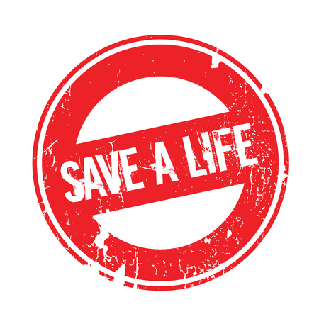 Save A Life rubber stamp. Grunge design with dust scratches. Effects can be easily removed for a clean, crisp look. Color is easily changed.
