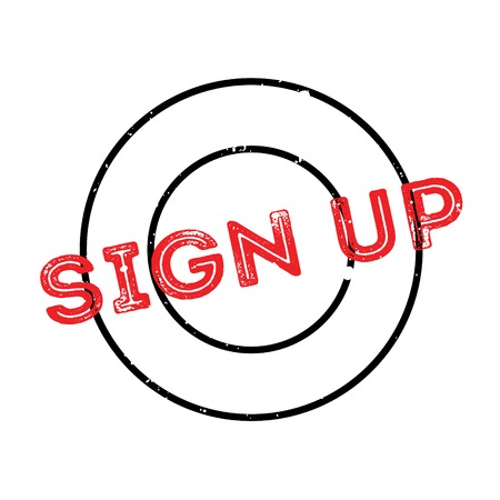 Sign Up rubber stamp. Grunge design with dust scratches. Effects can be easily removed for a clean, crisp look. Color is easily changed. Stock Photo
