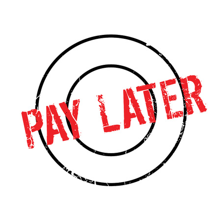 Pay Later rubber stamp. Grunge design with dust scratches. Effects can be easily removed for a clean, crisp look. Color is easily changed. Illustration