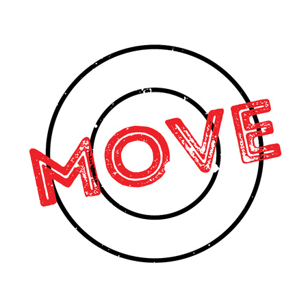 Move rubber stamp. Grunge design with dust scratches. Effects can be easily removed for a clean, crisp look. Color is easily changed. Illustration