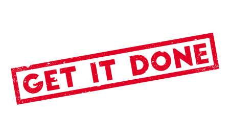 Get It Done rubber stamp. Grunge design with dust scratches. Effects can be easily removed for a clean, crisp look. Color is easily changed. Stock Photo