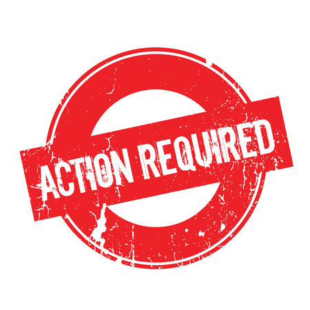 Action Required rubber stamp. Grunge design with dust scratches. Effects can be easily removed for a clean, crisp look. Color is easily changed. Stock Photo