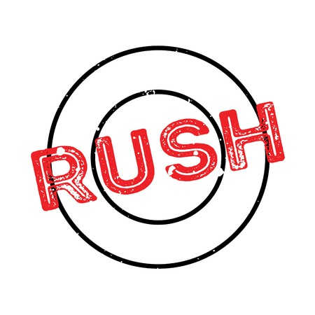 Rush rubber stamp. Grunge design with dust scratches. Effects can be easily removed for a clean, crisp look. Color is easily changed. Illustration