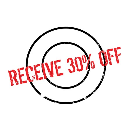Receive 30 Off rubber stamp. Grunge design with dust scratches. Effects can be easily removed for a clean, crisp look. Color is easily changed. Stock Photo