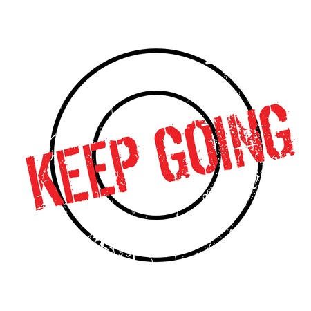 Keep Going rubber stamp. Grunge design with dust scratches. Effects can be easily removed for a clean, crisp look. Color is easily changed.
