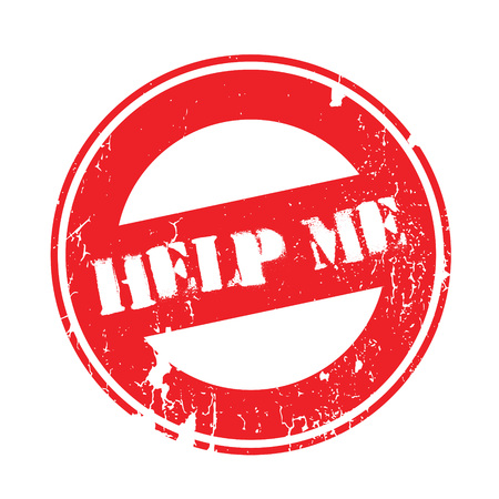 Help Me rubber stamp. Grunge design with dust scratches. Effects can be easily removed for a clean, crisp look. Color is easily changed. Stock Photo