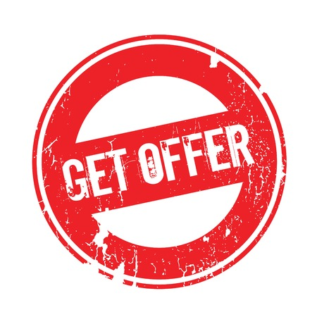 Get Offer rubber stamp. Grunge design with dust scratches. Effects can be easily removed for a clean, crisp look. Color is easily changed.