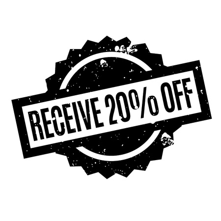 Receive 20 Off rubber stamp. Grunge design with dust scratches. Effects can be easily removed for a clean, crisp look. Color is easily changed.