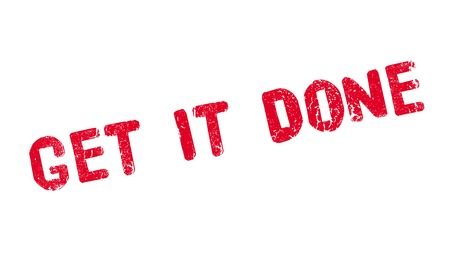 Get It Done rubber stamp. Grunge design with dust scratches. Effects can be easily removed for a clean, crisp look. Color is easily changed. Illustration