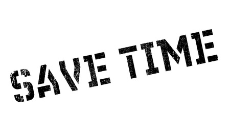 Save Time rubber stamp. Grunge design with dust scratches. Effects can be easily removed for a clean, crisp look. Color is easily changed. Stock Photo
