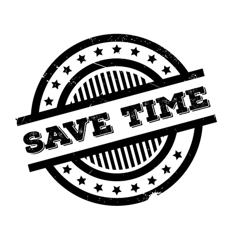 Save Time rubber stamp. Grunge design with dust scratches. Effects can be easily removed for a clean, crisp look. Color is easily changed. Illustration
