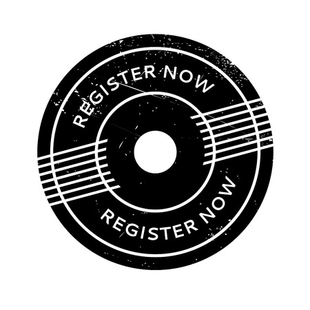 immediately: Register Now rubber stamp. Grunge design with dust scratches. Effects can be easily removed for a clean, crisp look. Color is easily changed. Illustration