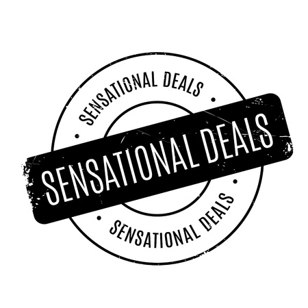 sensational: Sensational Deals rubber stamp. Grunge design with dust scratches. Effects can be easily removed for a clean, crisp look. Color is easily changed.