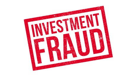 fraudster: Investment Fraud rubber stamp. Grunge design with dust scratches. Effects can be easily removed for a clean, crisp look. Color is easily changed. Illustration
