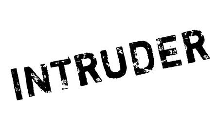 intrude: Intruder rubber stamp. Grunge design with dust scratches. Effects can be easily removed for a clean, crisp look. Color is easily changed.