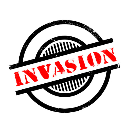 intrude: Invasion rubber stamp. Grunge design with dust scratches. Effects can be easily removed for a clean, crisp look. Color is easily changed.