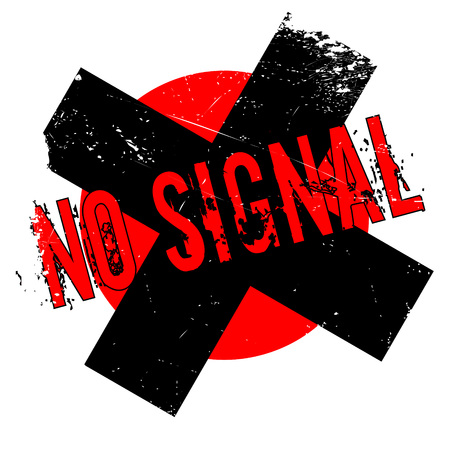 No Signal rubber stamp. Grunge design with dust scratches. Effects can be easily removed for a clean, crisp look. Color is easily changed. Illustration