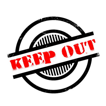 Keep Out rubber stamp. Grunge design with dust scratches. Effects can be easily removed for a clean, crisp look. Color is easily changed.