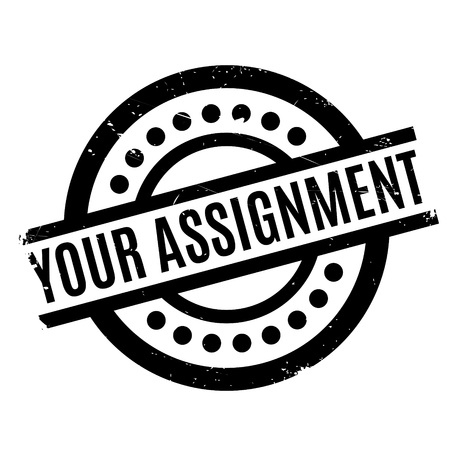 Your Assignment rubber stamp. Grunge design with dust scratches. Effects can be easily removed for a clean, crisp look. Color is easily changed. Stock Photo