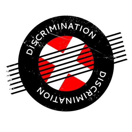 favoritism: Discrimination rubber stamp. Grunge design with dust scratches. Effects can be easily removed for a clean, crisp look. Color is easily changed.