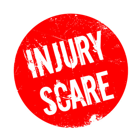 Injury Scare rubber stamp. Grunge design with dust scratches. Effects can be easily removed for a clean, crisp look. Color is easily changed. Illustration