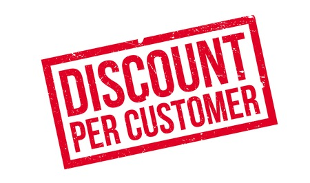 Discount Per Customer rubber stamp. Grunge design with dust scratches. Effects can be easily removed for a clean, crisp look. Color is easily changed.