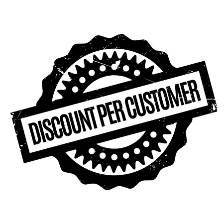 prospects: Discount Per Customer rubber stamp. Grunge design with dust scratches. Effects can be easily removed for a clean, crisp look. Color is easily changed.