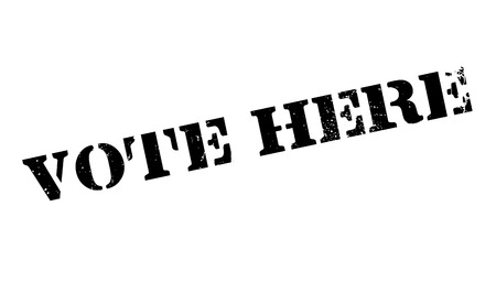 attending: Vote Here rubber stamp. Grunge design with dust scratches. Effects can be easily removed for a clean, crisp look. Color is easily changed.