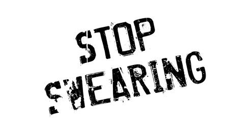 blasphemy: Stop Swearing rubber stamp. Grunge design with dust scratches. Effects can be easily removed for a clean, crisp look. Color is easily changed.