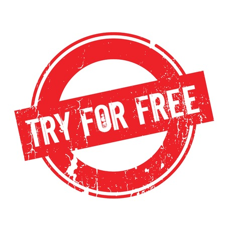 Try For Free rubber stamp. Grunge design with dust scratches. Effects can be easily removed for a clean, crisp look. Color is easily changed.