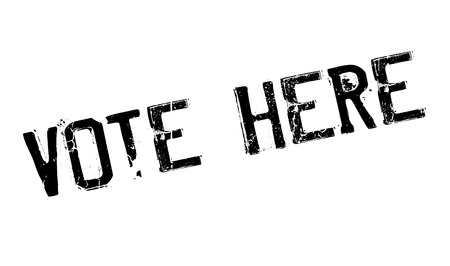 vote here: Vote Here rubber stamp. Grunge design with dust scratches. Effects can be easily removed for a clean, crisp look. Color is easily changed.