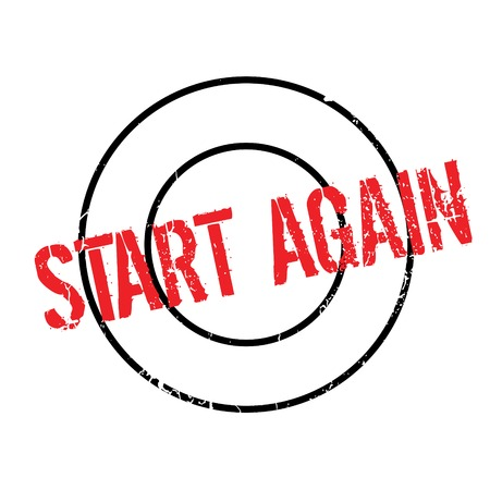 Start Again rubber stamp. Grunge design with dust scratches. Effects can be easily removed for a clean, crisp look. Color is easily changed.