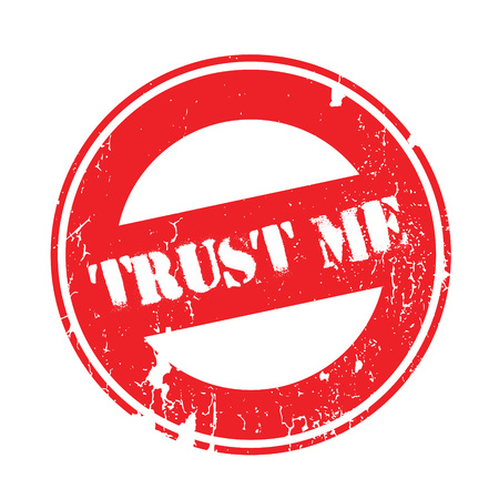 Trust Me rubber stamp. Grunge design with dust scratches. Effects can be easily removed for a clean, crisp look. Color is easily changed.