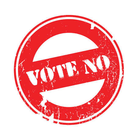 Vote No rubber stamp. Grunge design with dust scratches. Effects can be easily removed for a clean, crisp look. Color is easily changed. Illustration
