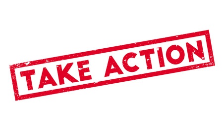 Take Action rubber stamp. Grunge design with dust scratches. Effects can be easily removed for a clean, crisp look. Color is easily changed. Illustration
